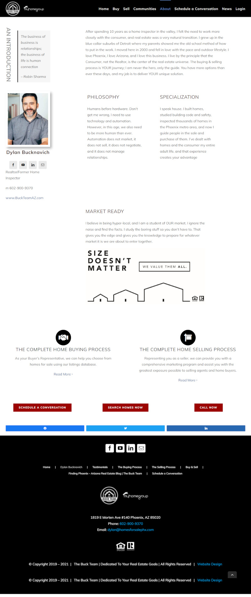 The Buck Team Real Estate about page website design